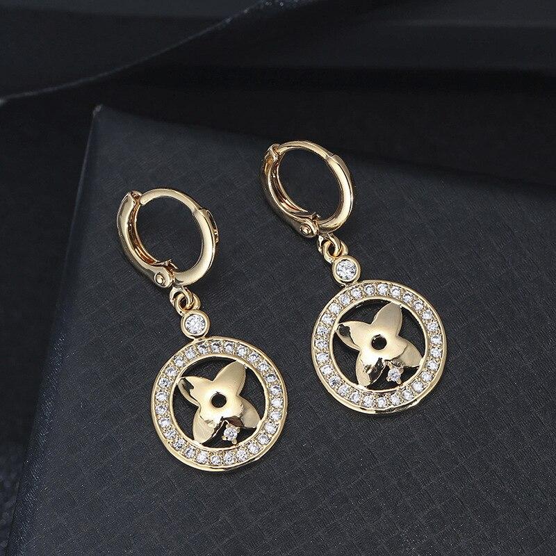 Fashion popular Euro American flower plant shaped zircon copper earrings factory direct sale explosions wholesale earrings|Stud Earrings| - AliExpress