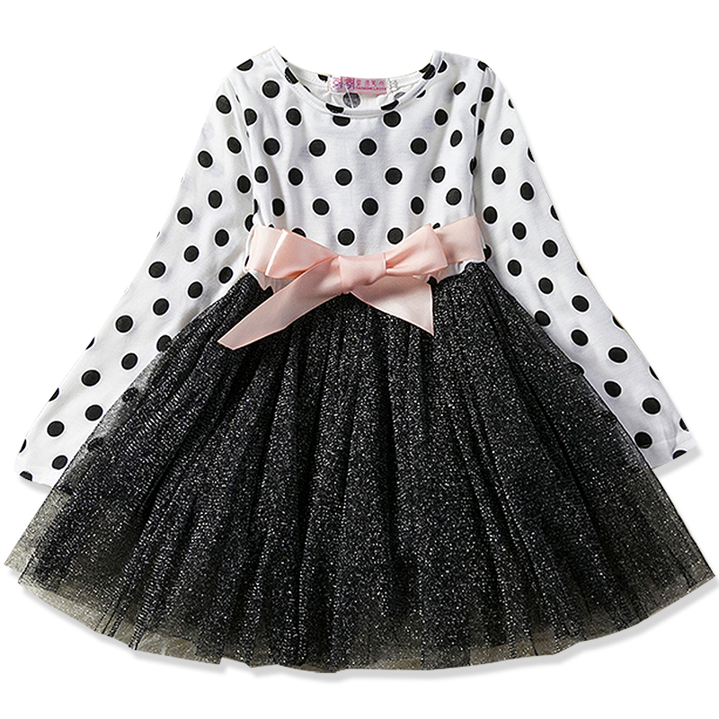 2-8Yrs Toddler Baby Girls Dress Long Sleeve Princess Party Dresses Kids Clothes