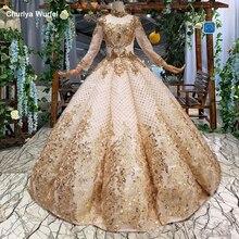 HTL093 luxury dubai evening dress high neck long sleeve curve shape women occasion quality prom 2019 casamento