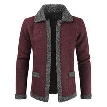 Winter Men Velvet Sweatercoat Pattern Style Wool C