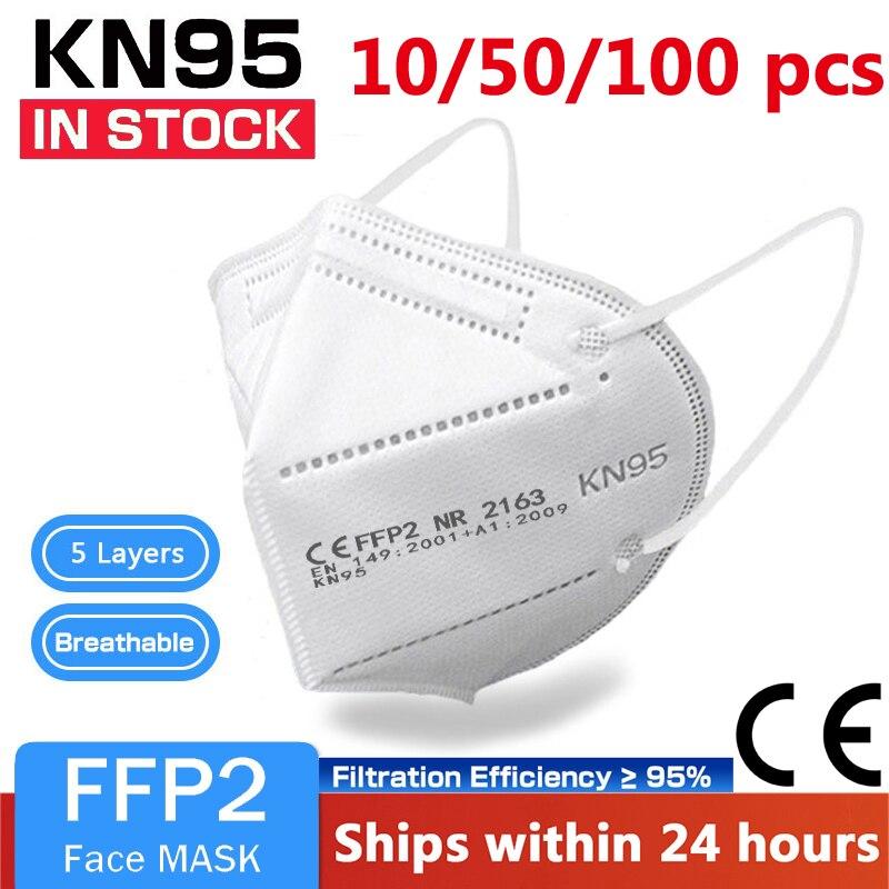 Многоразовая маска KN95 10-100 шт., защитная респираторная маска для защиты от пыли, маски для лица, пылезащитные маски для рта FPP2 Kn95Mask