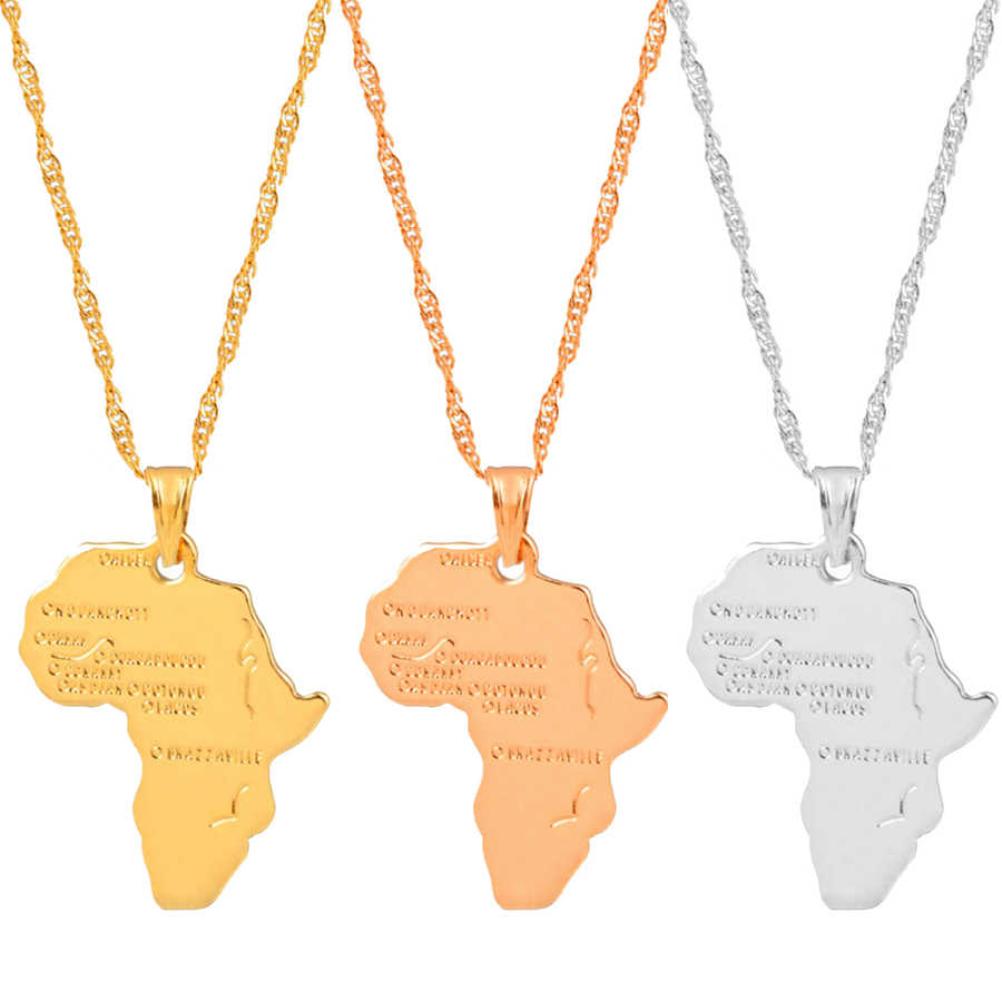 Anniyo Africa Map Pendant Necklace Women Men Silver Color/Gold Color Ethiopian Jewelry Wholesale African Map Hiphop Item #132106