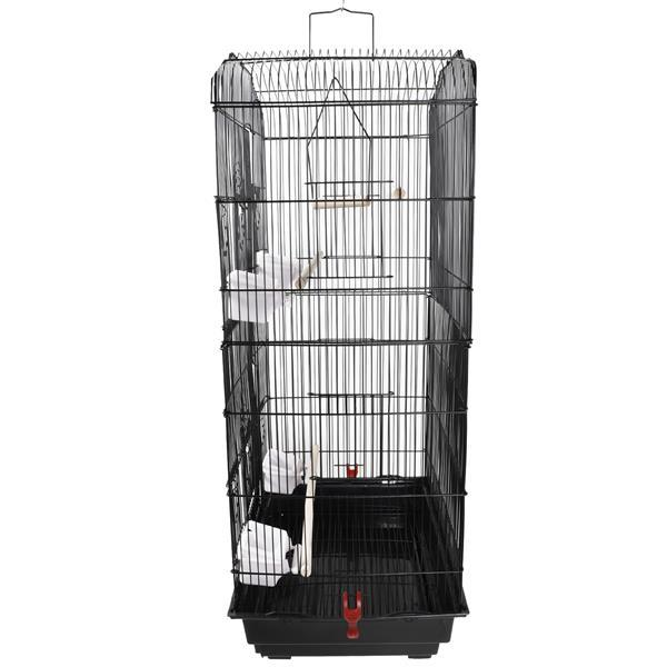 """37"""" Bird Parrot Cage Canary Parakeet Cockatiel LoveBird Finch Bird Cage with Wood Perches & Food Cups Black 2"""