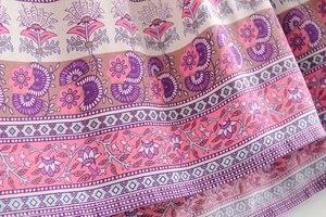 Image 4 - Винтажное шикарное женское розовое платье с цветочным принтом, длинным рукавом, бахромой и оборками, Пляжное богемное мини платье, женское свободное платье бохо из вискозы с V образным вырезом