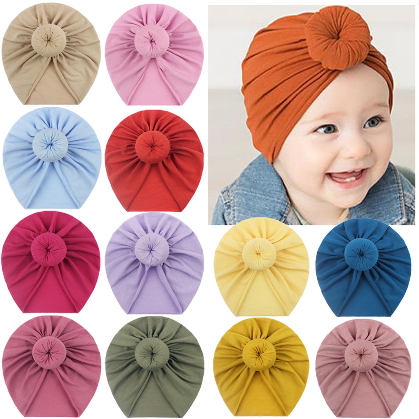 Для детей ясельного возраста, для маленьких мальчиков и девочек Однотонные узлом шапка головной убор аксессуары кабель дизайн тюрбан, Детс...