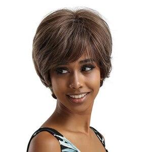 Image 5 - Easihair Ngắn Gợn Sóng Nâu Xám Hỗn Hợp Tổng Hợp Tóc Giả Dành Cho Phụ Nữ Hàng Ngày Bộ Tóc Giả Với Nổ Nữ Chịu Nhiệt Tự Nhiên tóc Giả