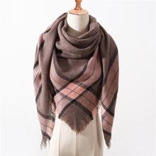 Теплый шарф в клетку роскошный брендовый зимний шарф для женщин, вязаные клетчатые женский шарфы, треугольные шали, теплые кашемировые шарфы из пашмины