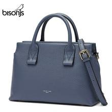 BISONJSหนังแท้กระเป๋าถือผู้หญิงผู้หญิงกระเป๋าถือกระเป๋าCasualกระเป๋าไหล่หญิงกระเป๋าB1870