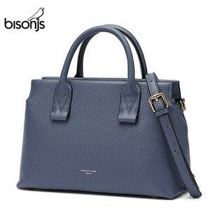Image 1 - BISONJS роскошные сумки из натуральной кожи, женские сумки, дизайнерская женская сумка тоут, повседневная сумка с верхней ручкой, женская сумка на плечо B1870