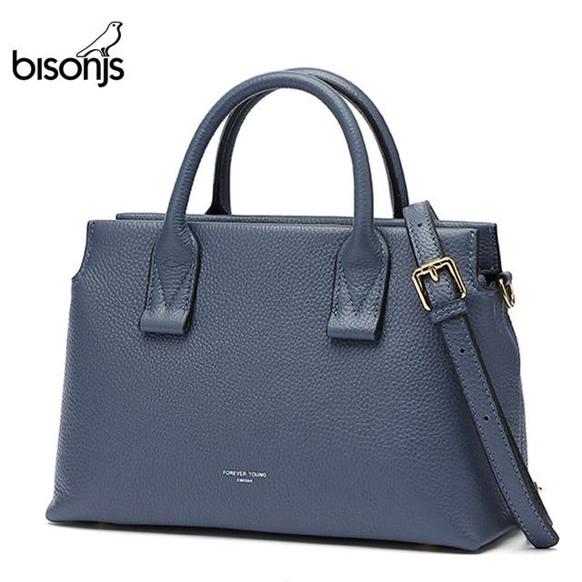 BISONJS роскошные сумки из натуральной кожи, женские сумки, дизайнерская женская сумка тоут, повседневная сумка с верхней ручкой, женская сумка на плечо B1870