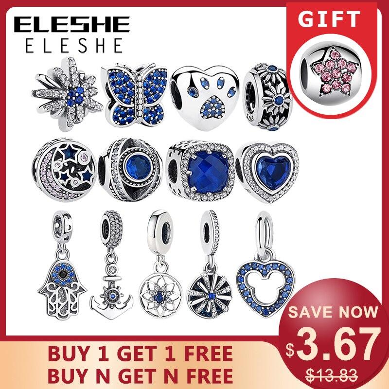 ELESHE Authentic 925 Sterling Silver Beads Blue Crystal Pet Paw Heart Star Daisy Charm Fit Original Pandora Bracelet DIY Jewelry