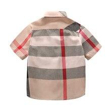 Детская одежда; Новинка года; сезон лето; Мужская рубашка в клетку с отложным воротником и короткими рукавами; хлопковые топы