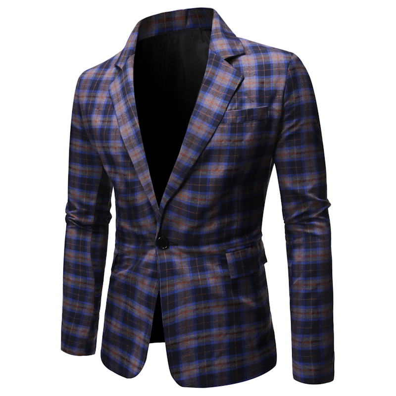 New Men Blazers British Style Plaid Male Slim Fit Business Casual Blazer Coat Men Brand Outwear Jacket Big And Tall Size S-XXL