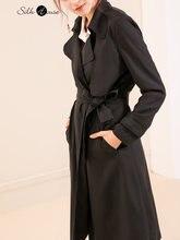 Красивое шелковое пальто в тяжелом весе женское длинное Осеннее
