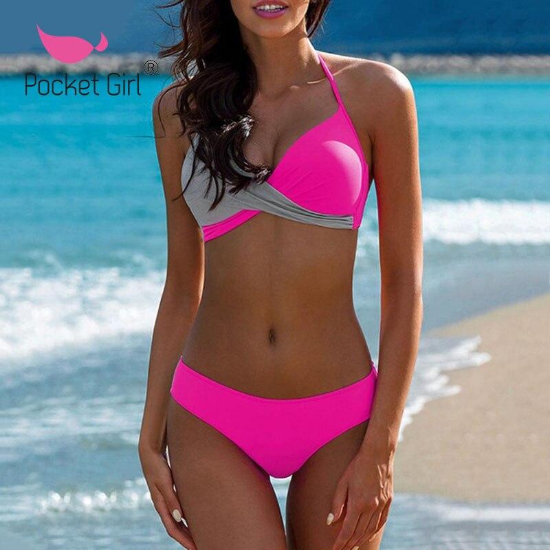 Pocket Girl 2020 Push Up Bikini Set Cross Patchwork Swimwear Women Bandage Sexy Swimsuit Plus Size Halter Bathing Biquini 3XL