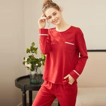 Women Sleepwear Sets Style Suit Home  Female Sexy fashion homewear Pajamas Long sleeve Christmas red cotton