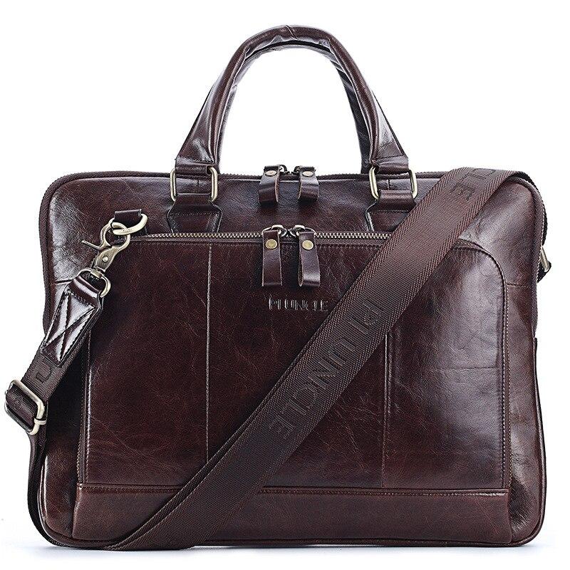 New Vintage Cow Genuine Leather Business Men's Briefcase Male Briefcase Shoulder Bag Men's Messenger Bag Tote Computer Handbag