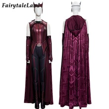 Newest Halloween High Quality Wanda Vision Maximoff Cosplay Costume Adult Female Witch Outfit Boots Red Printing Cape