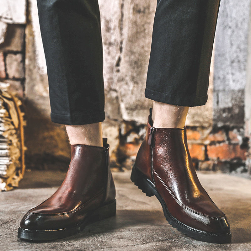 Korean designer men's leisure cowboy boots breathable soft leather shoes gentleman chelsea bottes homme ankle botas hombre male