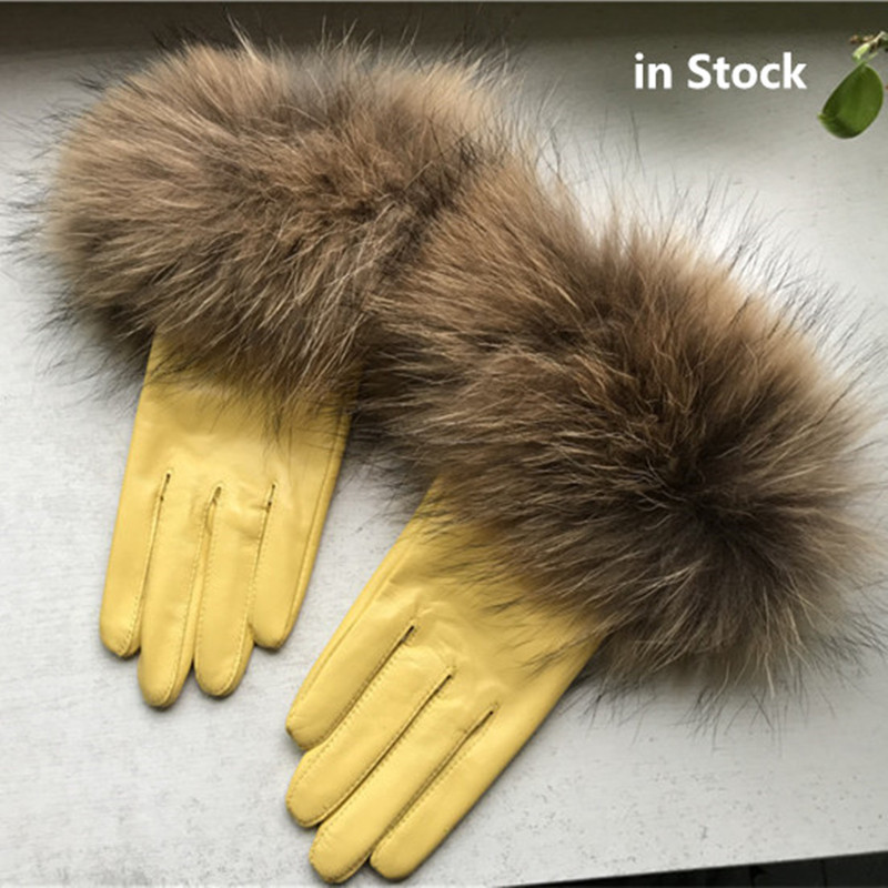 6 Colors Real Raccoon Fur Gloves Leather Women's Gloves Fashion Luxury Big Raccoon Fur Sheepskin Genuine Leather Gloves Female