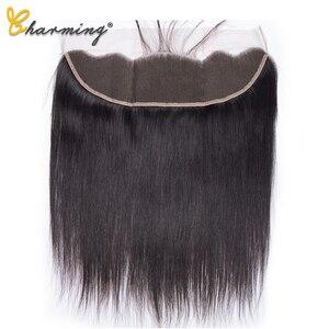 Очаровательная 13x4 прямая кружевная Фронтальная застежка человеческие волосы закрытие средняя/три/свободная часть швейцарское кружево бра...