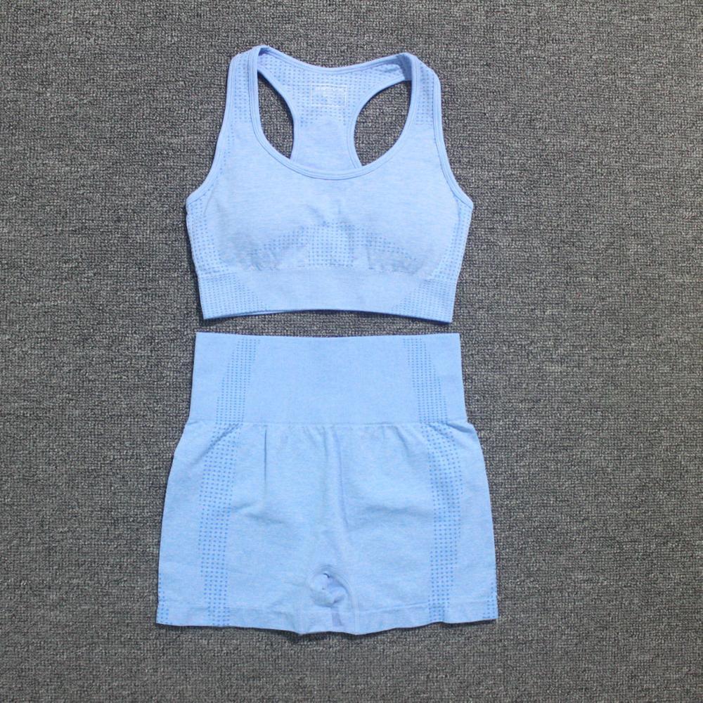 Summer Women Vital Seamless Yoga Sports Suits Sport Bra+High Waist Fitness Shorts Gym Set Running Sportswear Workout Clothes