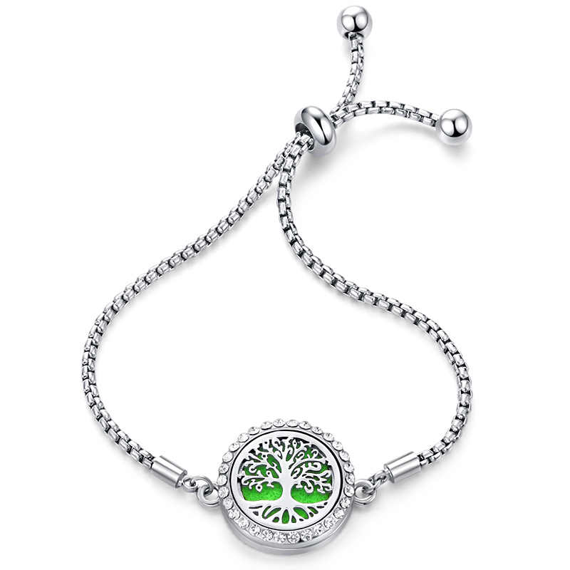 Tree of Life Crystal Aroma Locket Bracelet Perfume Essential Oil Diffuser Bracelet Stainless Steel Fashion Charm Zircon Jewelry