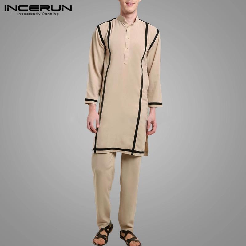 Men Leisure Solid Color Patchwork Sets Vintage Muslim Kaftan Suits Fashion Loose Button Blouse Elastic Pants Suits INCERUN S 5XL