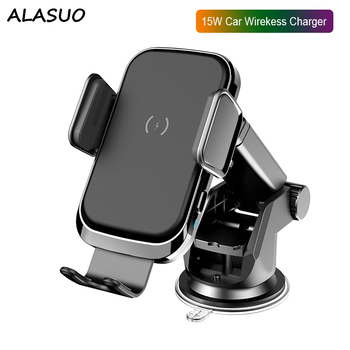 Fast Qi Car Wireless Charger 15W For iPhone X Xiaomi Samsung 9 10 Auto Clamping Wireless Charging Air Vent Car Phone Holder