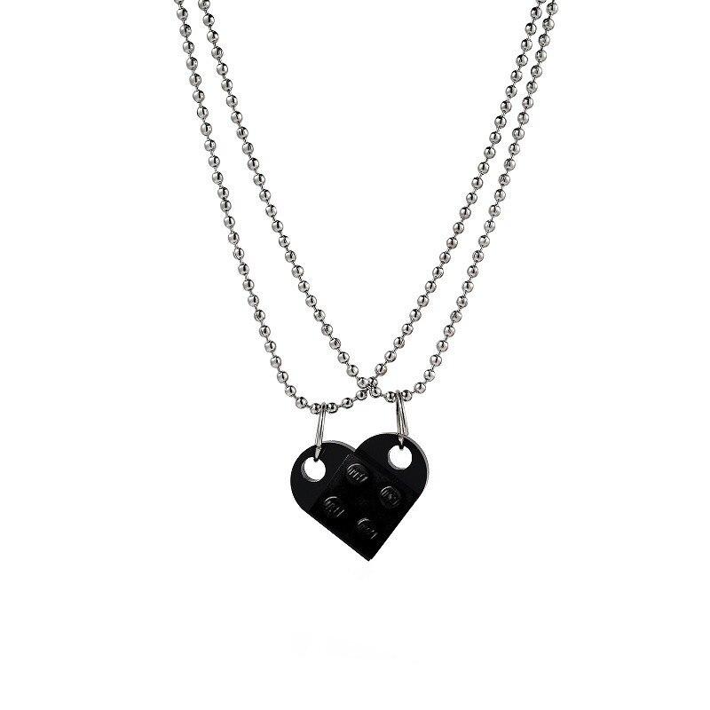 Ожерелье из двух частей с кулоном в виде милого кирпичного сердца, новый дизайн, ожерелье в форме сердца Lego для женщин, мужчин, девочек и маль...