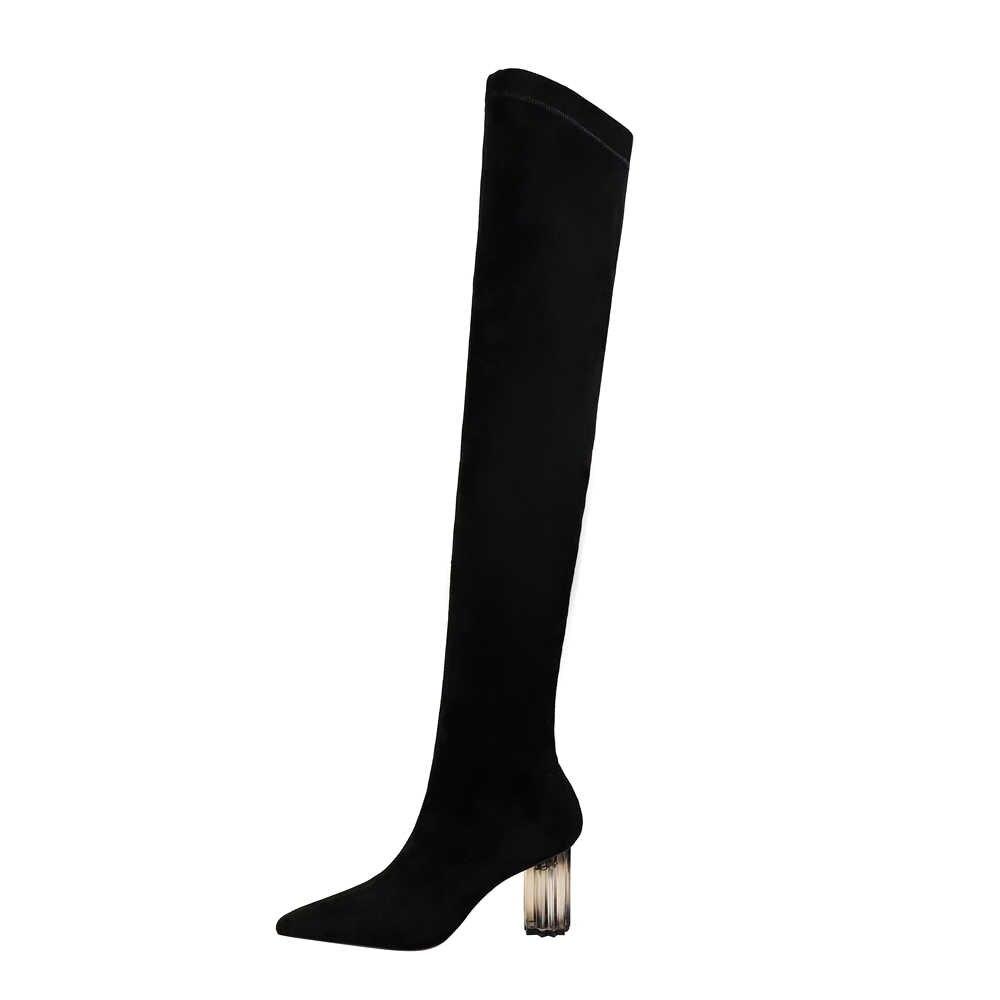 ใหม่สีดำ Flock Over-the-เข่าผู้หญิงฤดูหนาวแฟชั่นชี้ Toe 7 ซม.คริสตัลหนาหนาถุงเท้ารองเท้าผู้หญิงเซ็กซี่ยาว Booties