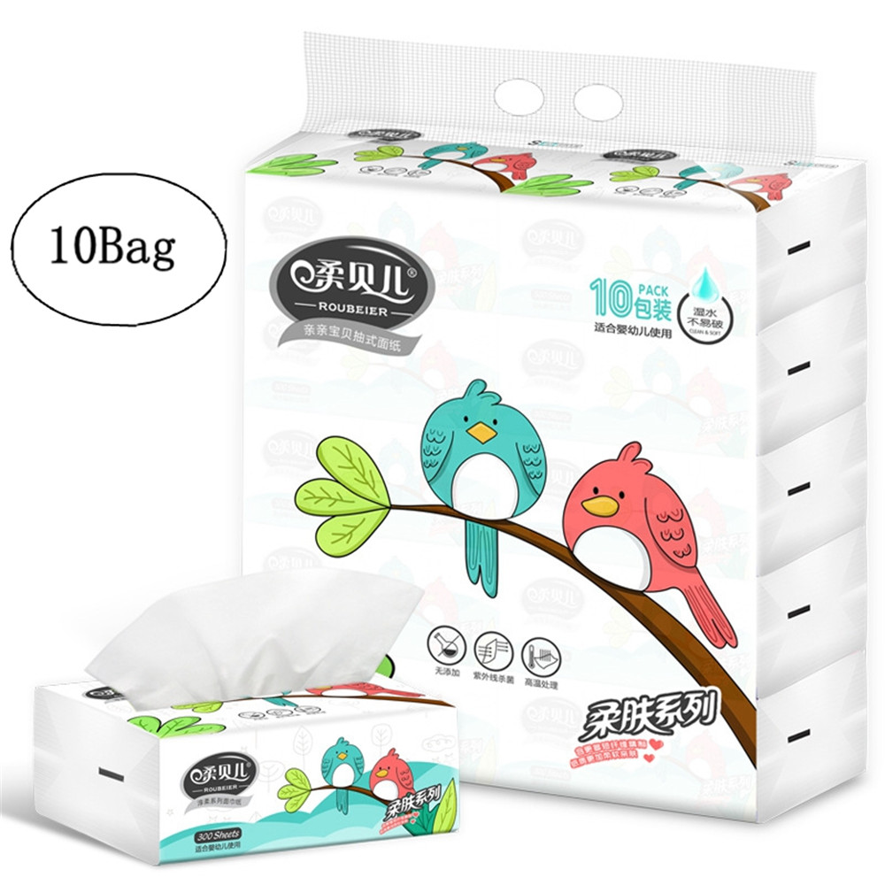 10Bags Kitchen Napkin Paper Household Toilet Paper Bathroom Tissue Super Soft Skin-friendly Natural Health Pulp Bathroom Tissue