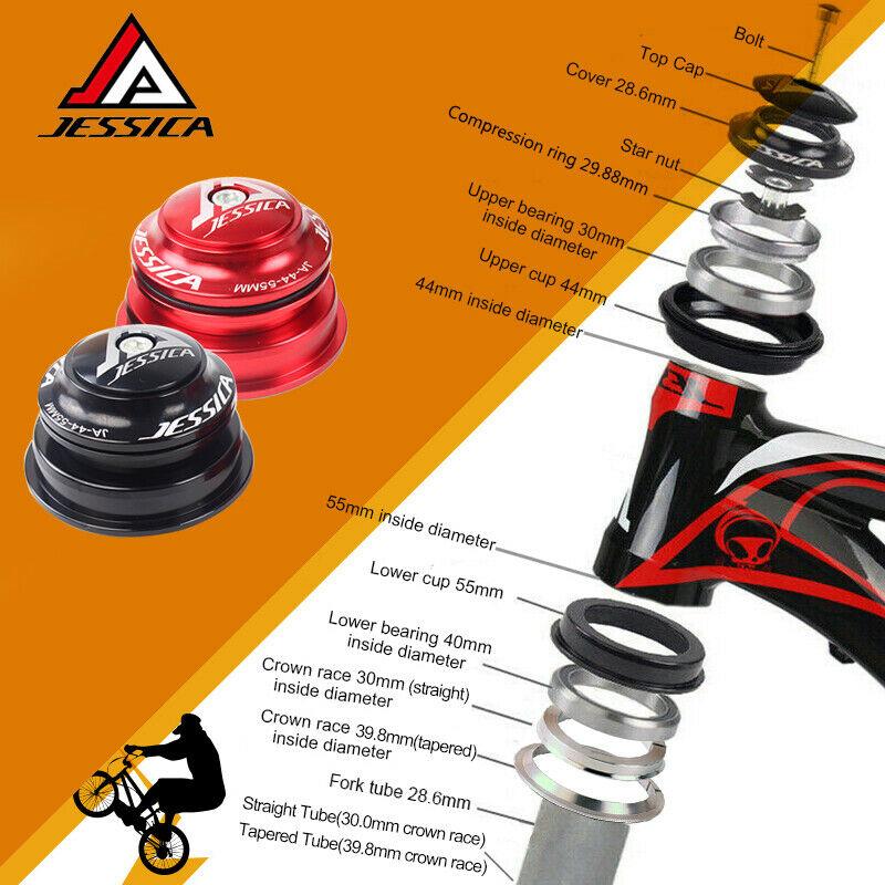 "JESSICA 44-44mm 1-1//8/"" Fork Tube Threadless Sealed Bearings MTB Bike Headset"
