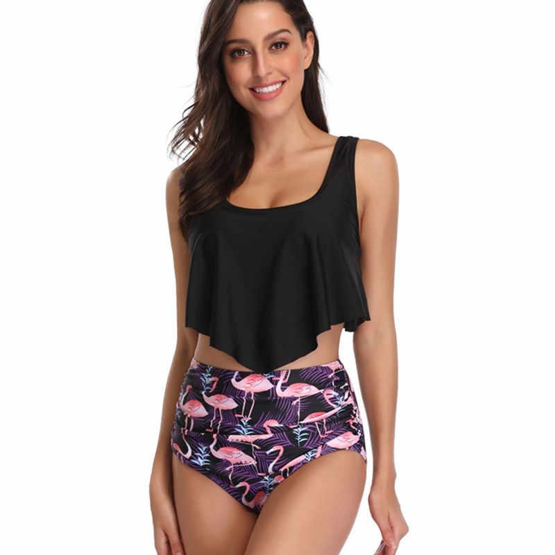 Taille haute Bikini Push Up maillot de bain femmes grande taille maillots de bain Biquini maillot de bain brésilien à volants Bikini ensemble XXXL dame maillots de bain