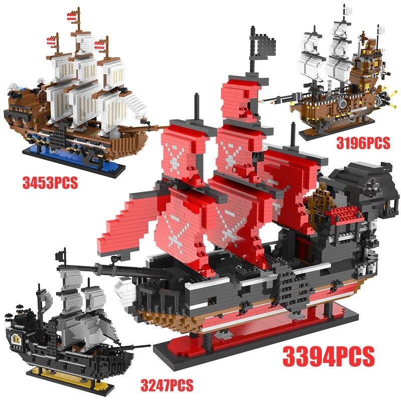 3D Mini blocs caraïbes Pirate voile noir perle bateau bateau reine Annes modèle bricolage construction diamant blocs briques enfants jouets