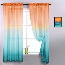 Colorful Rainbow Gradient Tulle Transparent Curtains for Living Room Bedroom Kitchen Sheer Curtains Home Decor Window Drapes