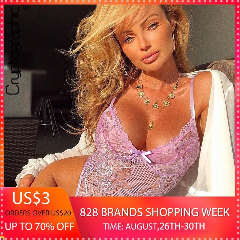 Cryptographic hot sale sheer lace bodysuit women backless transparent mesh bow sexy jumpsuit 2019 catsuit straps bodysuits thong swimsuit top