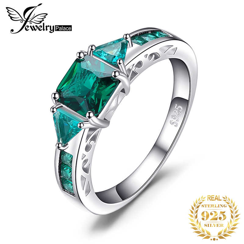 JewelryPalace 3 stone Created Nano Emerald Ring 925 Sterling Silver Rings for Women Engagement Ring Silver 925 Gemstones Jewelry