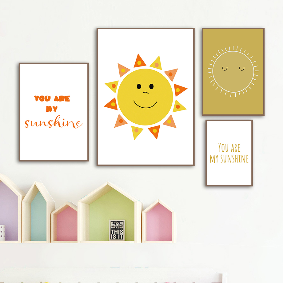 Cartoon Sun Motivational Poster Nursery Wall Art Print Canvas Painting Nordic Canvas Posters And Prints Wall Pictures Kids Room in Painting Calligraphy from Home Garden
