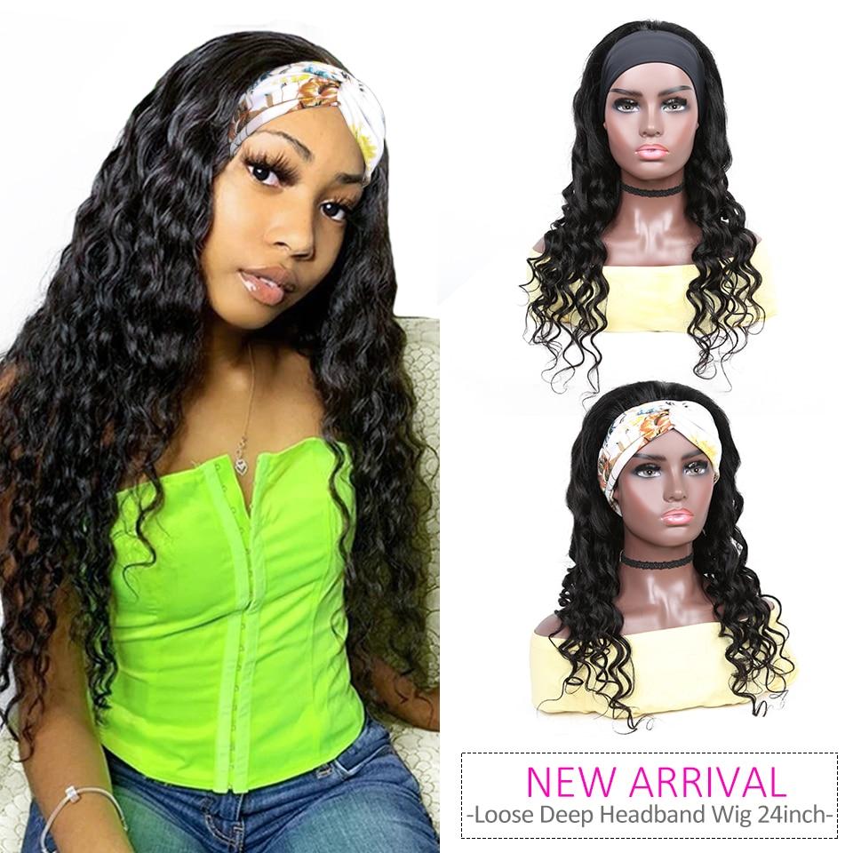 YYong Hair Newest Protective Headband Scarf Wig 100%  Loose Deep Wave Full Machine Net Wig  Glueless 1