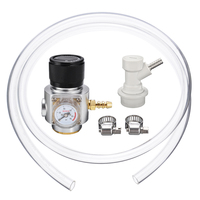 1Set CO2 Mini Gas Regulator T21x 4 CO2 Gas Regulator Gas Line CO2 Gas Regulator Charger Ball Lock Mayitr