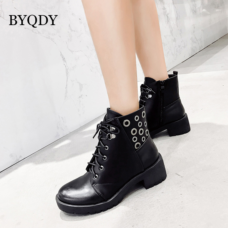 BYQDY Ankle Boots For Woman Winter PU Leather Lace Up Women Work Shoes Round Toe Black Autumn Size 35-40