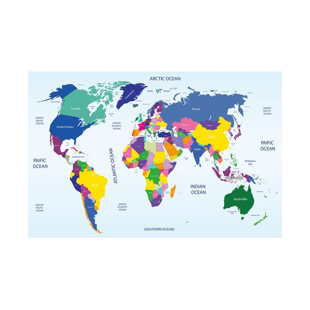 Mapa del mundo no tejido colorido 150x100cm Mapa de la placa del país para la decoración y la educación de la Oficina y de la pared escolar 34 x LED Canbus lámpara para reposapiés bombillas + interior de luz de mapa Kit para VW Volkswagen T4 T5 T6 Multivan Caravelle transportador