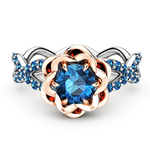 Elegant Blue Crystal Stone Ring Rose Flower Round Zircon Micro Pave Engagement Ring Fashion Wedding Rings For Women Gift D5M546 hollow heart rings for women female micro pave engagement wedding knuckle finger ring fashion jewelry z4p900