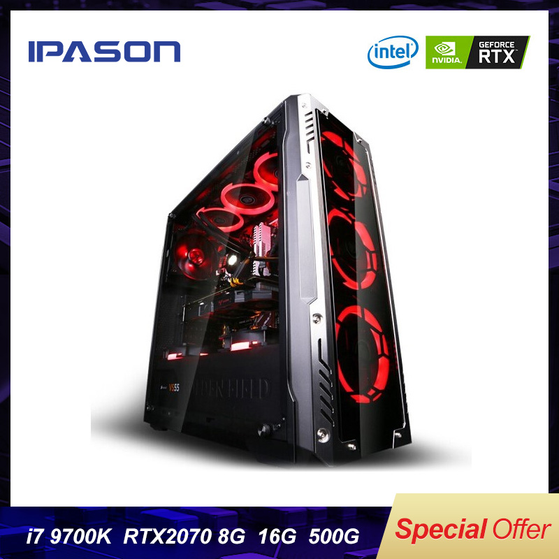 9th Gen 6-Core Intel I7 8700k/9700K IPASON Gaming PC  DDR4 3000 16G RAM/Dedicated Card RTX2070 8G/500G M.2 SSD/2T HDD Desktop