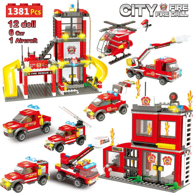 1381pcs City Police Building Blocks Compatible Legoinglys City Fire Station Firefighter Truck Car Boat Bricks Toys for Children image