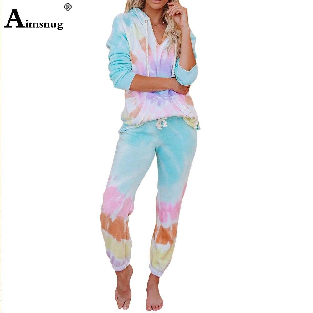 Aimsnug Hoodies Pajamas Women Sets 2020 Autumn Ladies Elastic Waist Lounge Wear Mujer Pijama Sleepwear Nightwear Pants Top Femme