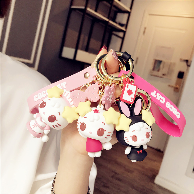 Fashion Trend Lovely Lucky Cat Keychains Maid Cat Clown Cat Doll Cartoon Key Chain Lady Net Red Jewelry Pendant Car Key Rings