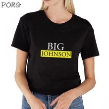 Camiseta divertida con estampado Vintage Big Johnson de verano de manga corta para mujer(China)