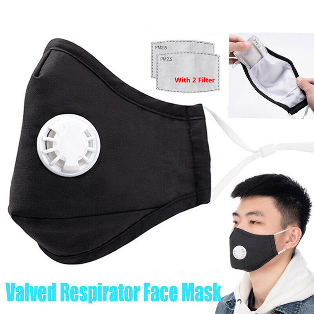 2PCs Black Mouth Mask Reusable Valved with 2 Filters Face Mask washable Mask Respirator Unisex facial Masks for Men Women 1
